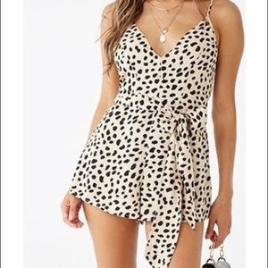 Forever 21 Leopard Wrap Romper. Size M